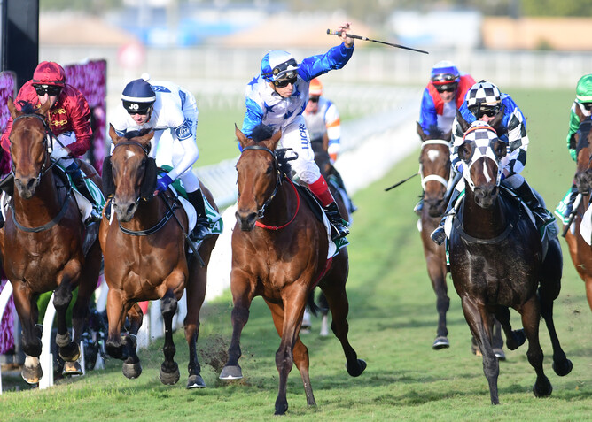 Bostonian (centre) winning the Gr.1 Kingsford-Smith Cup (1300m). - Grant Peters via NZ Racing Desk